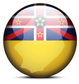 Map on flag button of Niue vector image vector image