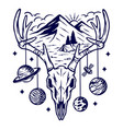 mountain and deer skeleton vector image