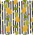 Pineapple hand drawn sketch striped Seamless vector image vector image