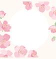 pink cherry sakura flower blossom border frame vector image vector image