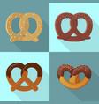 pretzel icon set flat style vector image vector image