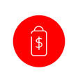 price tag dollar sign outline red circle icon vector image