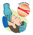 pulse through carotid artery with gloves vector image vector image