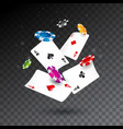 realistic falling casino chips and poker cards vector image vector image
