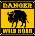 road sign - danger animal wild boar vector image vector image