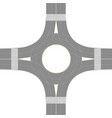 roundabout road junction over white background vector image vector image