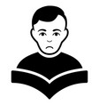 sad student black icon vector image vector image