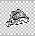 santas hat sticker ornate vector image
