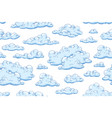 seamless pattern with blue fluffy clouds hand vector image