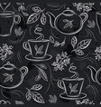 seamless patterns with tea set cup teapot vector image vector image