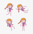 set beauty girl wearing swimsuit and playing vector image vector image