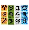 Set of Astrological Zodiac Symbols on Blurred vector image vector image