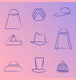 set of different hats line art icons vector image vector image