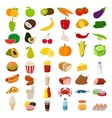 Set of icons with food and drinks for restaurant vector image vector image