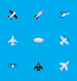 set of simple airplane icons elements aircraft vector image