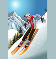 skier in the mountain vector image vector image