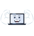 Smiling powerful laptop computer vector image vector image