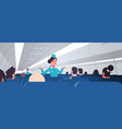 stewardess explaining instructions for passengers vector image vector image