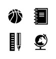 studying simple related icons vector image vector image