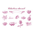 valentine element hand draw vintage engraving vector image