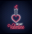 valentines day neon be my valentine lettering vector image