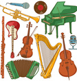 Set of isolated colorful musical instruments vector image