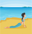 A girl doing yoga at the beach vector image