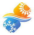 air conditioning snowflake and sun symbol heating vector image