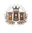 ancient fort emblem heraldic coat of arms vector image
