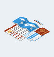 approved visa form passports tickets map pen vector image