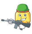 army cream jar character cartoon vector image vector image