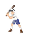 boy playing baseball vector image vector image