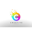c rainbow dots letter logo letter design with vector image vector image