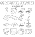 Computer service icons set outline style vector image