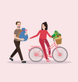 couple buy vegetable riding bicycle happy healthy vector image