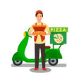 courier delivering pizza flat vector image vector image