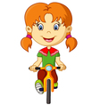 Cute little girl riding a bike vector image vector image