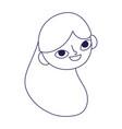 cute teen girl face long hair cartoon vector image vector image