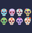 dead day skulls dia de los muertos decoration vector image
