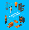 electricity industry concept electrician workers vector image vector image