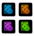 glowing neon washer and gear icon isolated on vector image