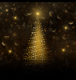 golden christmas tree background vector image vector image