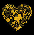 golden floral valentines heart vector image vector image