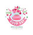 good day logo original design element can be used vector image vector image