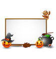 halloween sign with owl spider and pumpkin vector image vector image