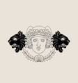 hand drawn antique goddess with animals masks vector image vector image