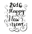 Happy new year card black and white vector image vector image