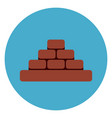 heap of brick blocks icon web button on round blue vector image vector image