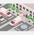 hospital exterior isometric vector image vector image