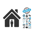House Owner Flat Icon with Bonus vector image